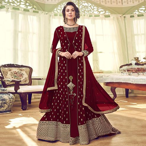 Innovative Maroon Colored Partywear Embroidered Jacket Style Georgette Anarkali Suit