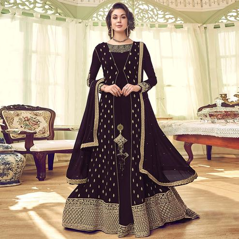 Eye-catching Coffee Brown Colored Partywear Embroidered Jacket Style Georgette Anarkali Suit