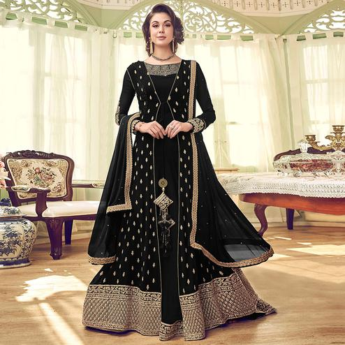 Fantastic Black Colored Partywear Embroidered Jacket Style Georgette Anarkali Suit