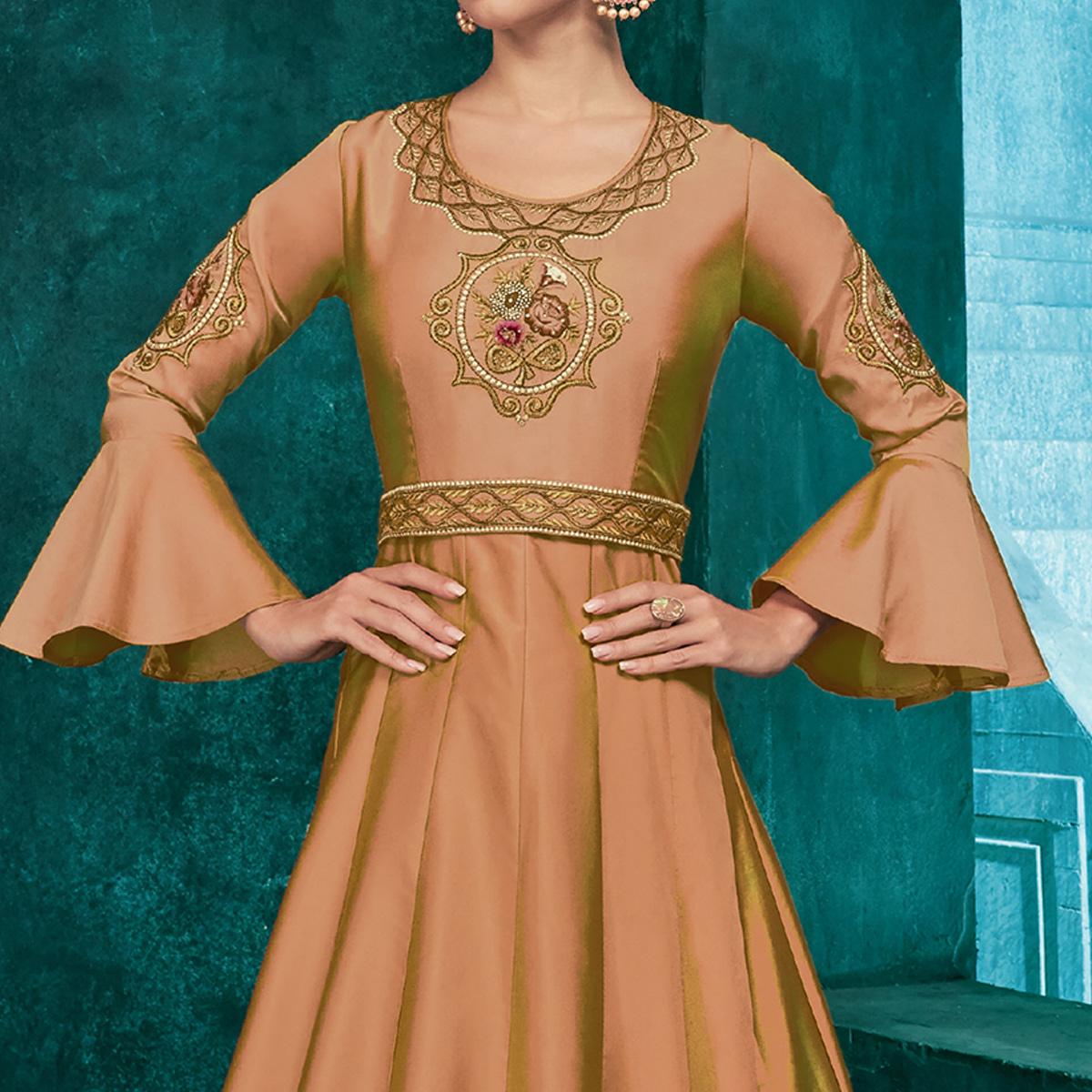 Ideal Beige Colored Partywear Embroidered Silk Gown