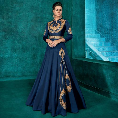 Imposing Navy Blue Colored Partywear Embroidered Silk Gown