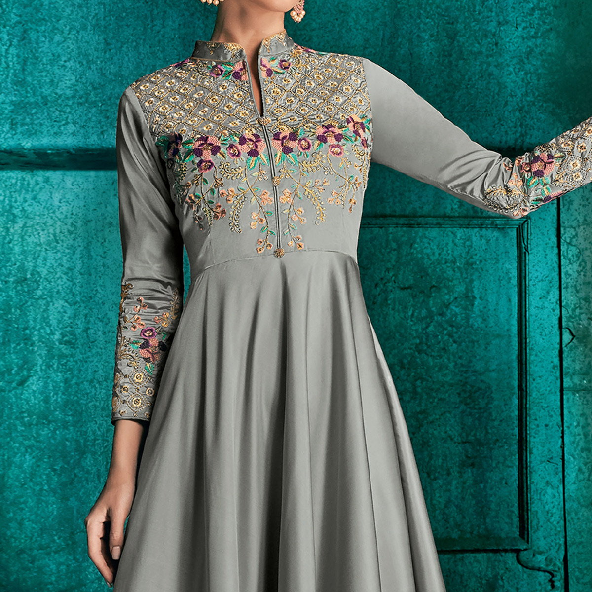 Lovely Grey Colored Partywear Embroidered Silk Gown