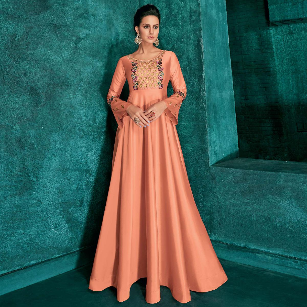 Majesty Peach Colored Partywear Embroidered Silk Gown