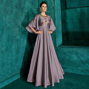 Impressive Grey Colored Partywear Embroidered Silk Gown