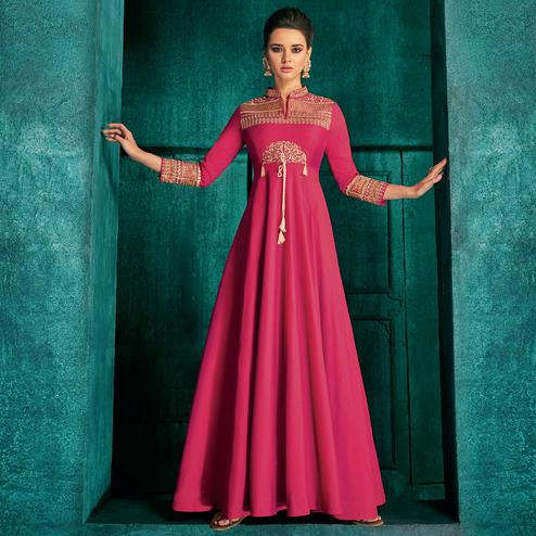 Alluring Pink Colored Partywear Embroidered Silk Gown