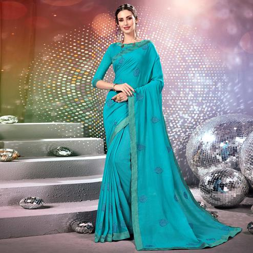 Blissful Sky Blue Colored Parytwear Embroidered Georgette Saree