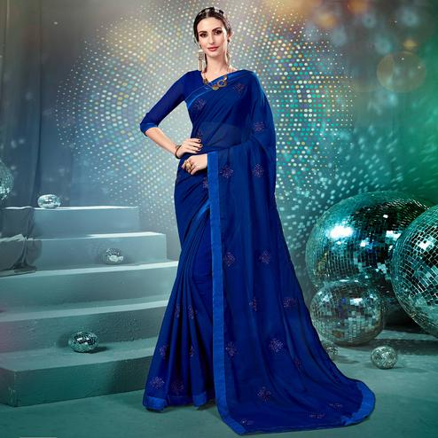 Majesty Blue Colored Parytwear Embroidered Georgette Saree