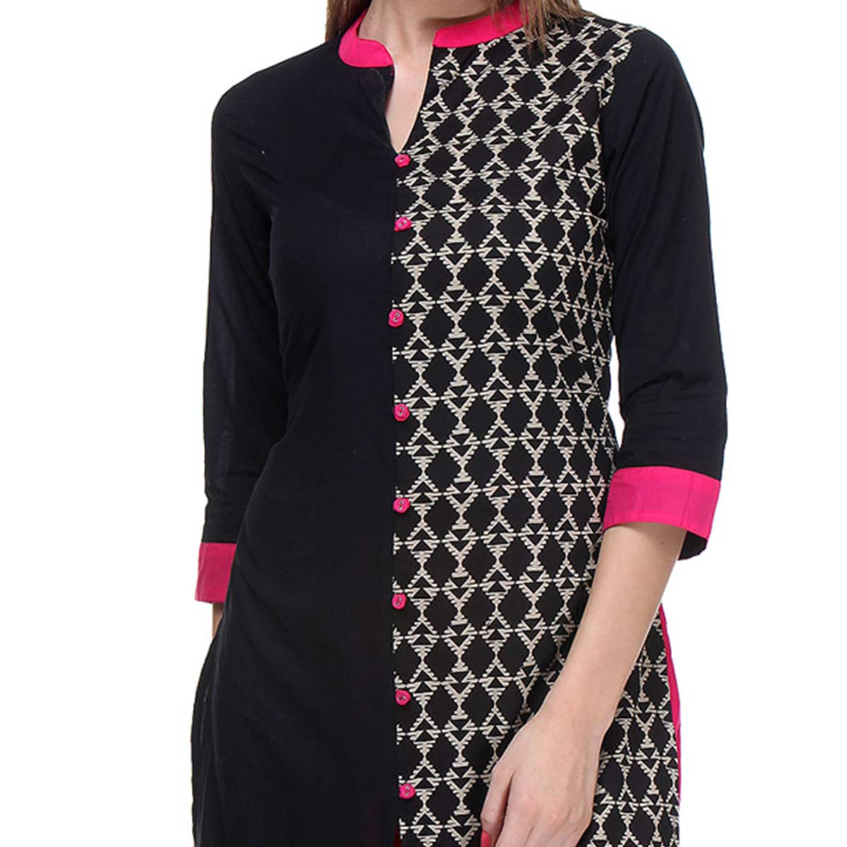 Black Cambric Printed Slit Kurti