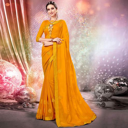 Pleasance Yellow Colored Parytwear Embroidered Georgette Saree