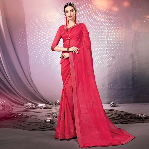 Breathtaking Pink Colored Parytwear Embroidered Georgette Saree