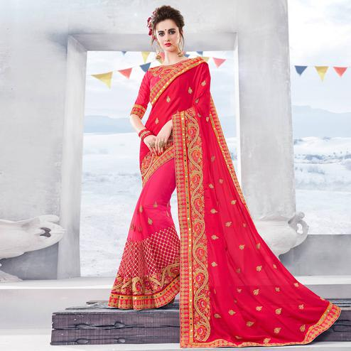 Glorious Pink Colored Partywear Embroidered Chiffon-Net Half-Half Saree