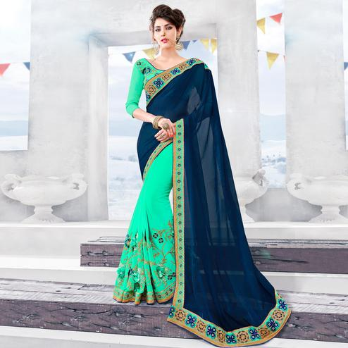 Beautiful Navy Blue-Aqua Green Colored Partywear Embroidered Georgette Half-Half Saree