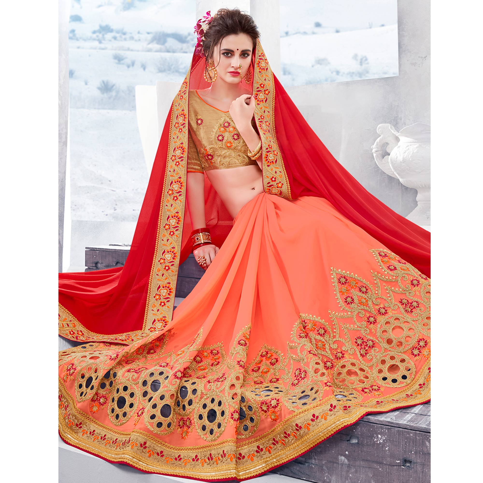 Graceful Red-Peach Colored Partywear Embroidered Georgette Half-Half Saree