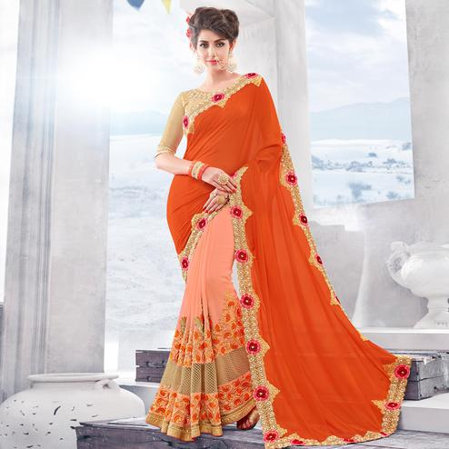 Charming Orange-Peach Colored Partywear Embroidered Georgette Saree