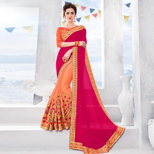 Delightful Pink-Peach Colored Partywear Embroidered Chiffon-Georgette Half-Half Saree