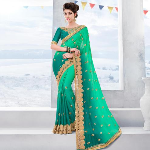Engrossing Green Colored Partywear Embroidered Georgette Saree