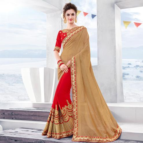 Innovative Red-Chiku Colored Partywear Embroidered Georgette Half-Half Saree