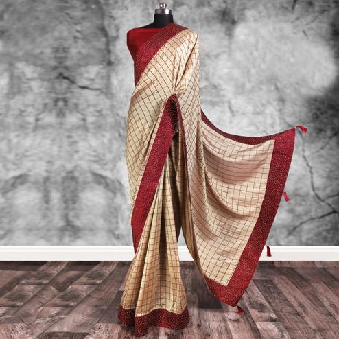 Adorable Beige Colored Partywear Printed Art Silk Saree