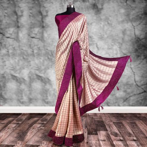 Attractive Peach Colored Partywear Printed Art Silk Saree