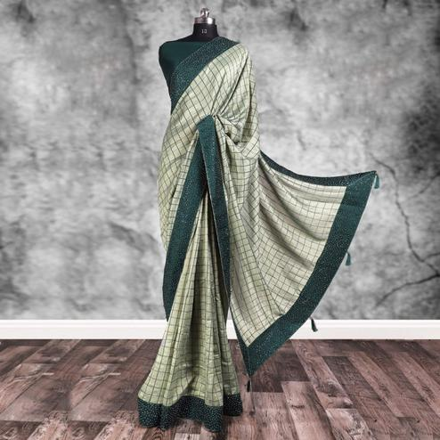 Blooming Light Teal Gray Colored Partywear Printed Art Silk Saree