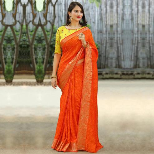 Amazing Orange Colored Festive Wear Woven Jacquard Saree