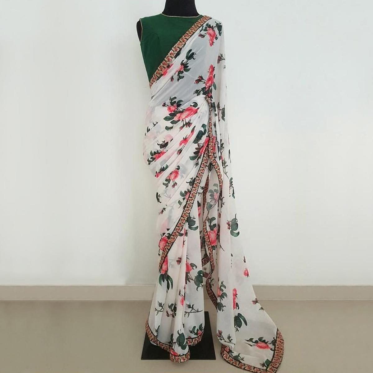 Arresting White Colored Partywear Floral Printed Georgette Saree