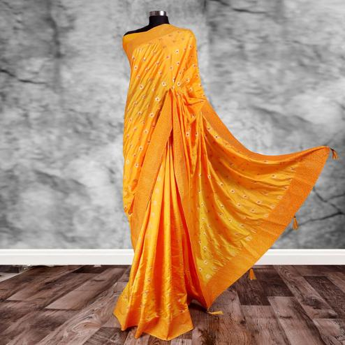 Magnetic Yellow Colored Partywear Printed Art Silk Saree