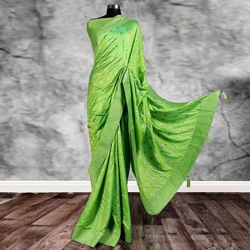 Excellent Green Colored Partywear Printed Art Silk Saree