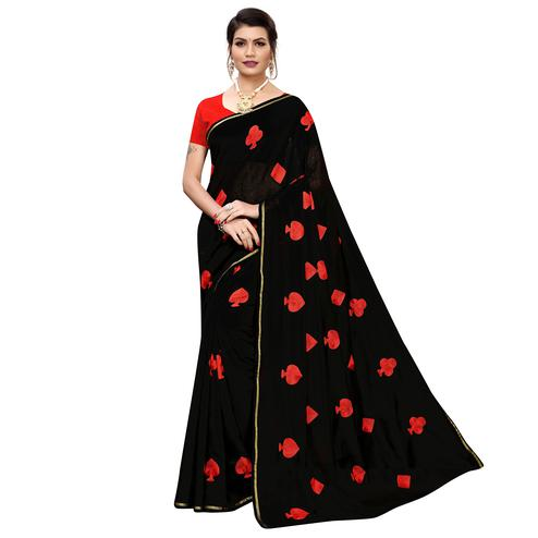 Adorable Black Colored Partywear Embroidered Chanderi Silk Saree
