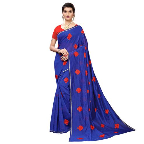 Glorious Blue Colored Partywear Embroidered Chanderi Silk Saree