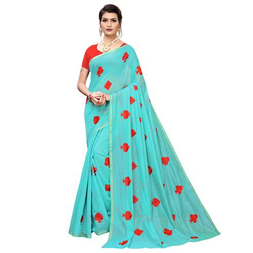 Attractive Aqua Blue Colored Partywear Embroidered Chanderi Silk Saree