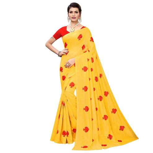 Beautiful Yellow Colored Partywear Embroidered Chanderi Silk Saree