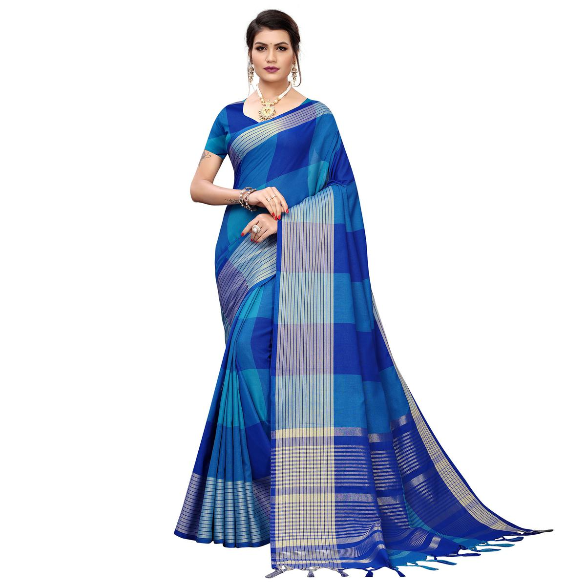 Blooming Blue Colored Festive Wear Printed Cotton Silk Saree
