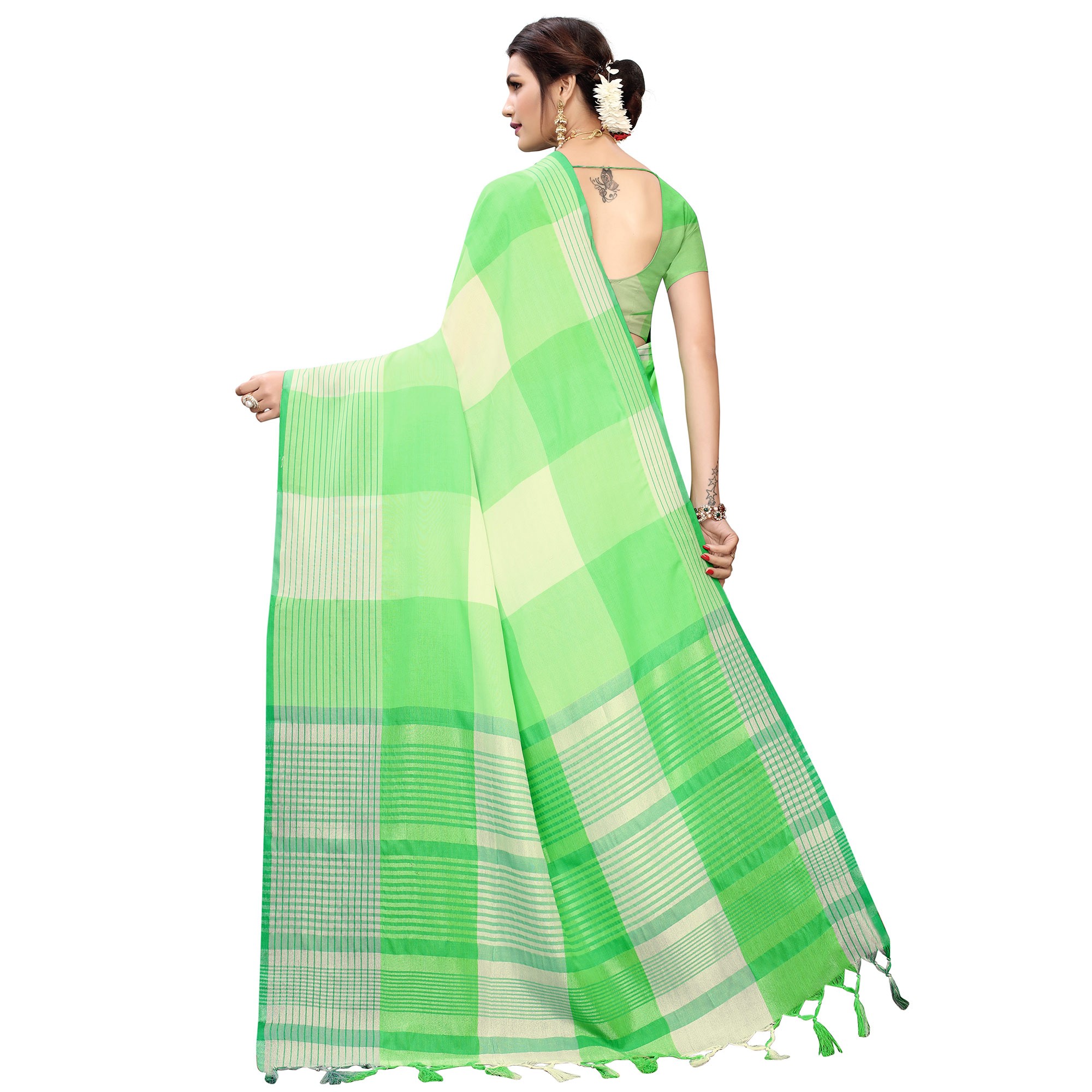 Charming Green Colored Festive Wear Printed Cotton Silk Saree