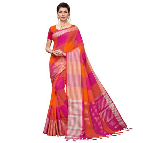 Jazzy Magenta Pink-Orange Colored Festive Wear Printed Cotton Silk Saree