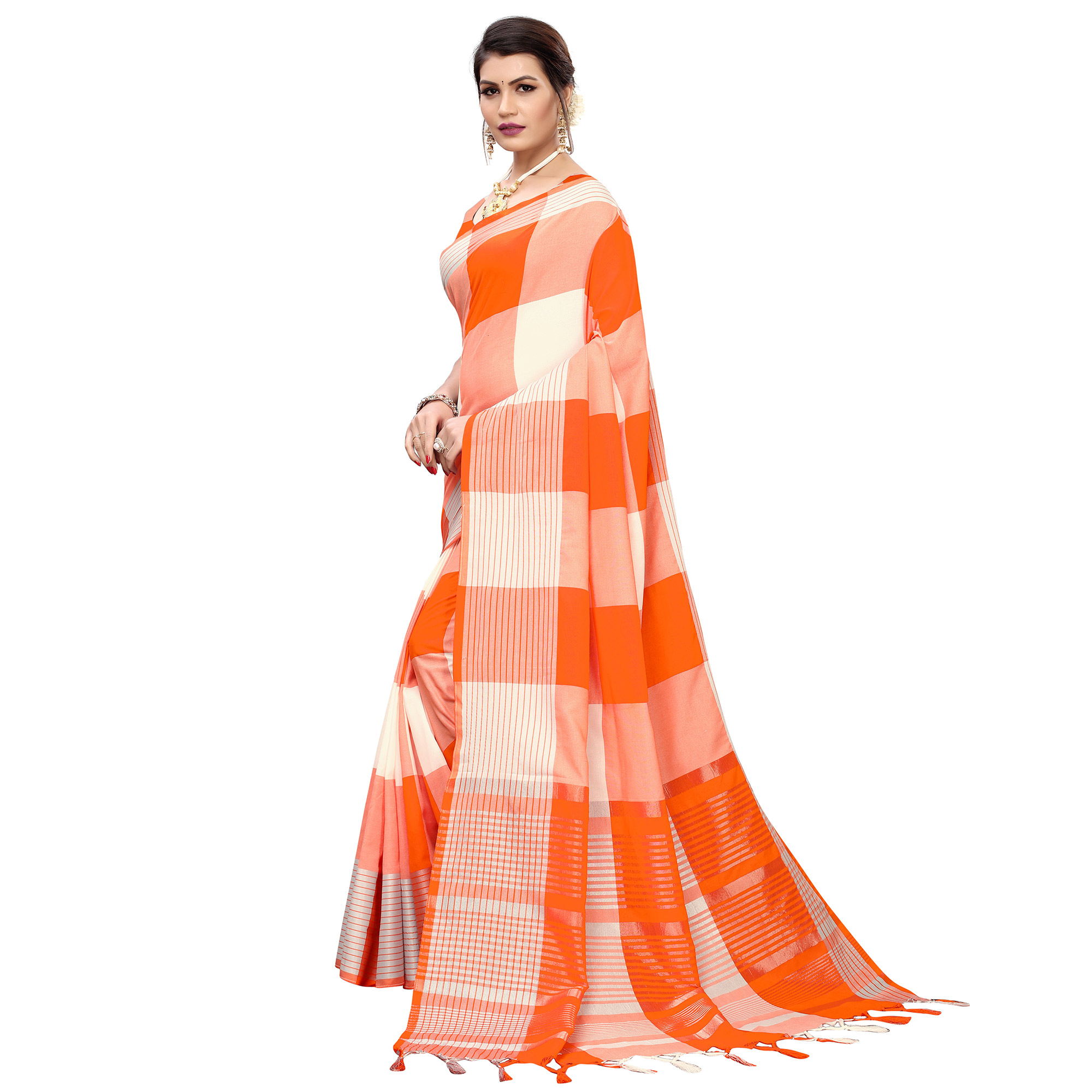 Delightful Orange Colored Festive Wear Printed Cotton Silk Saree