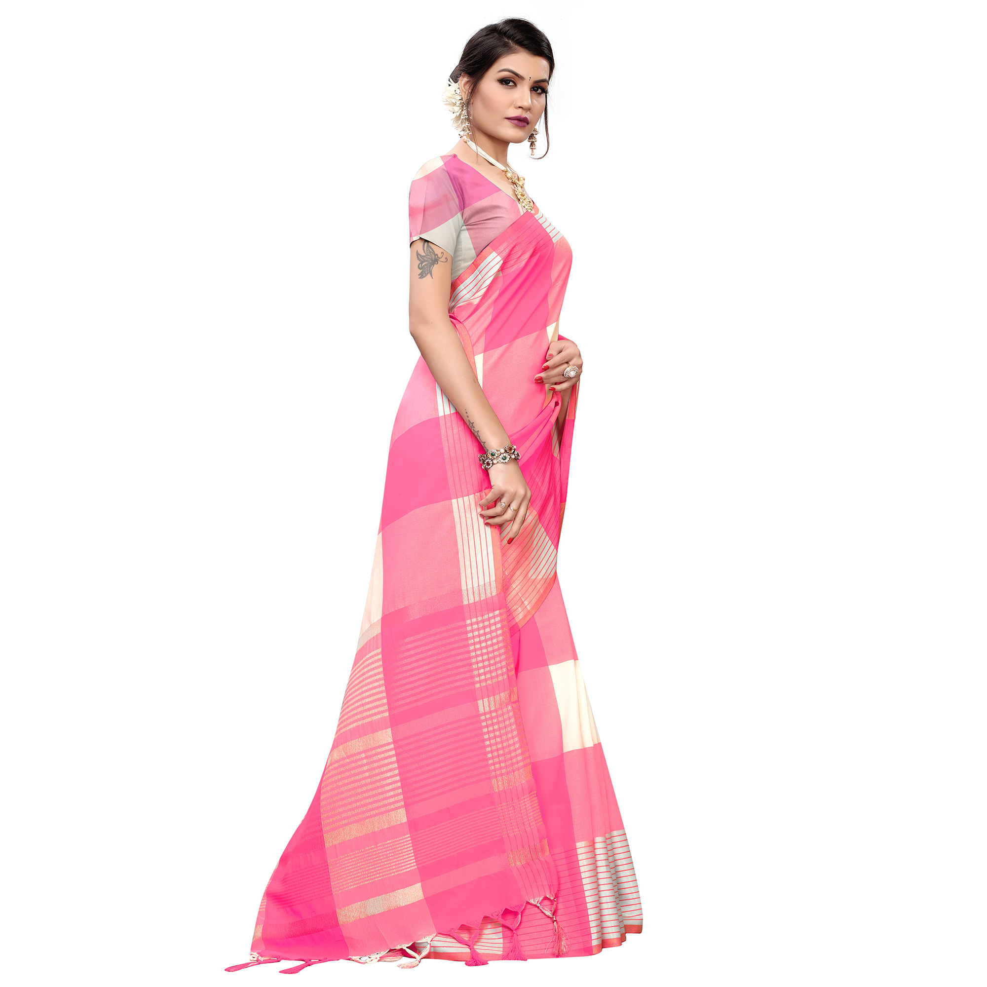 Engrossing Pink Colored Festive Wear Printed Cotton Silk Saree