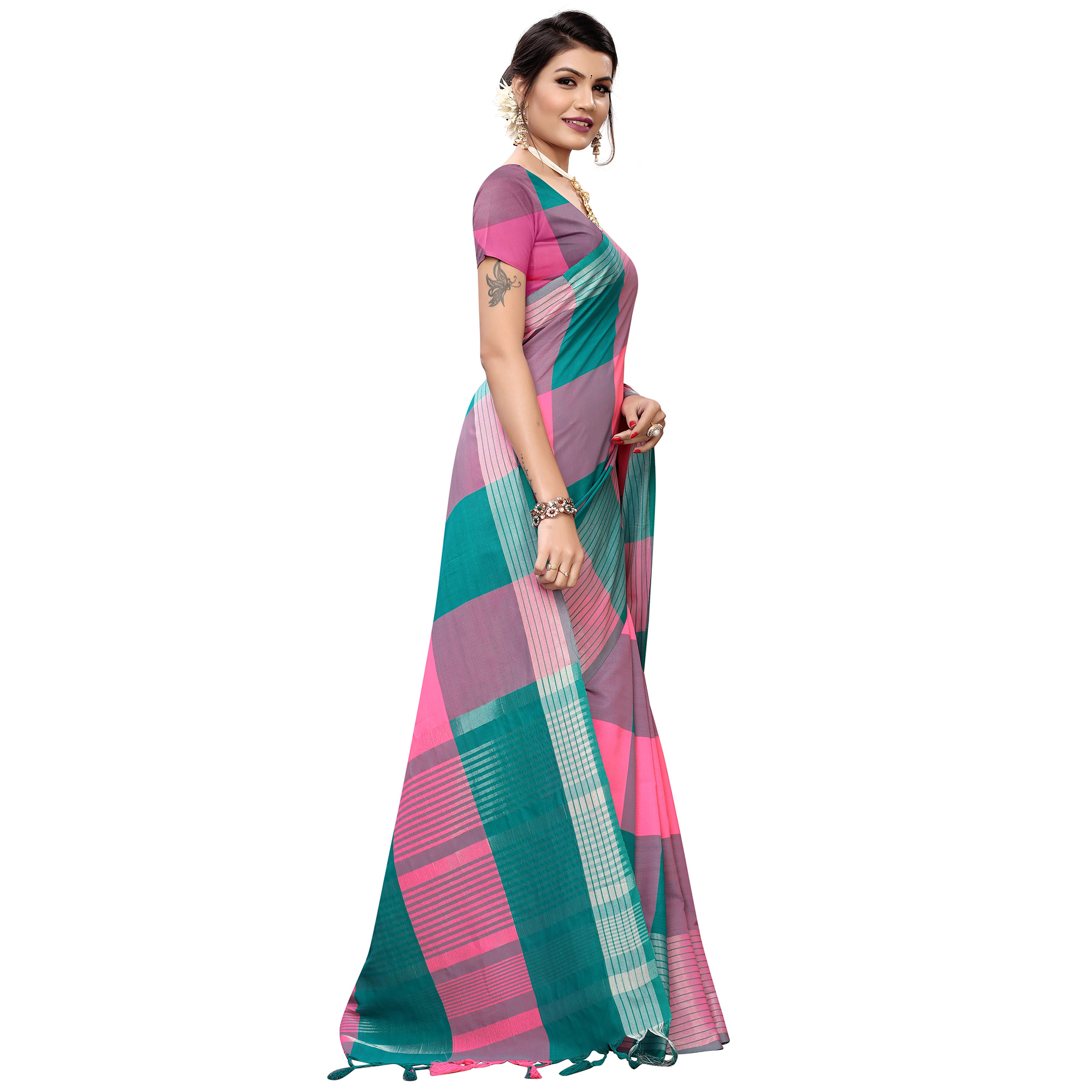 Captivating Pink-Turquoise Green Colored Festive Wear Printed Cotton Silk Saree