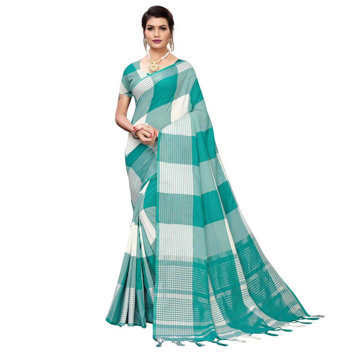 Innovative Turquoise Green-White Colored Festive Wear Printed Cotton Silk Saree