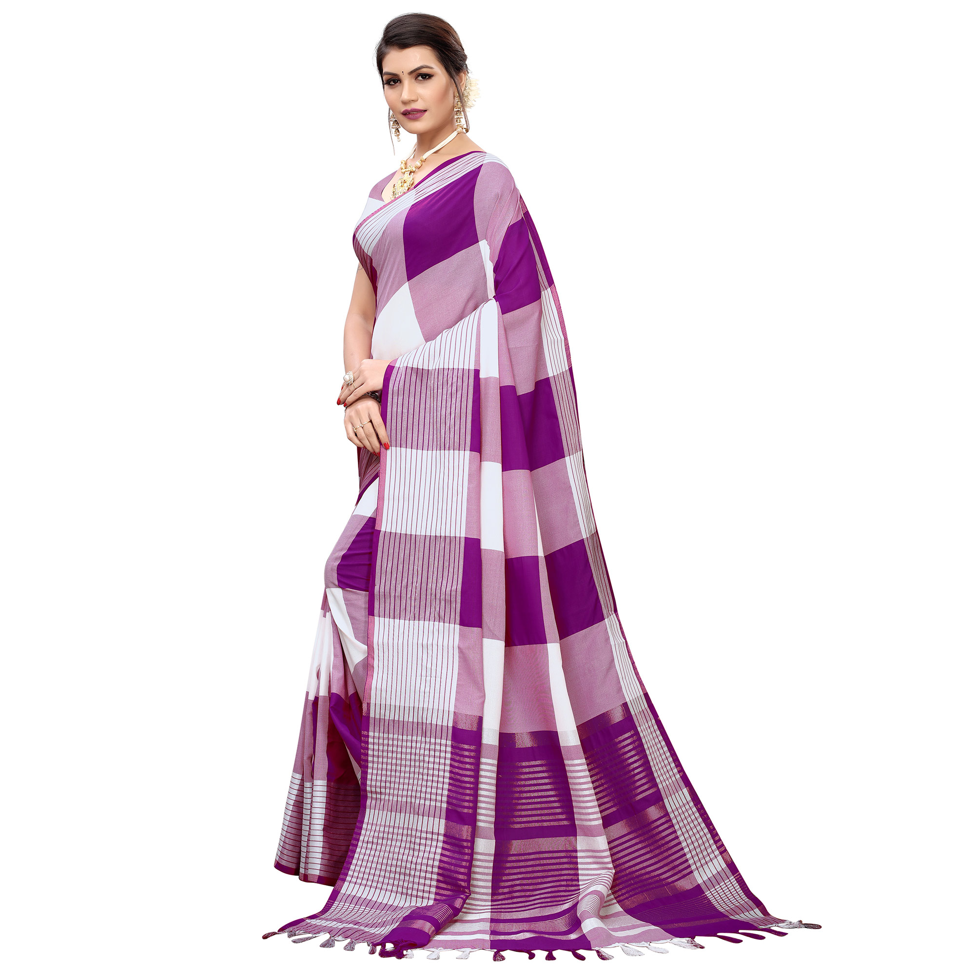 Eye-catching Purple Colored Festive Wear Printed Cotton Silk Saree