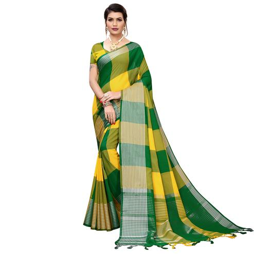 Fantastic Yellow-Green Colored Festive Wear Printed Cotton Silk Saree