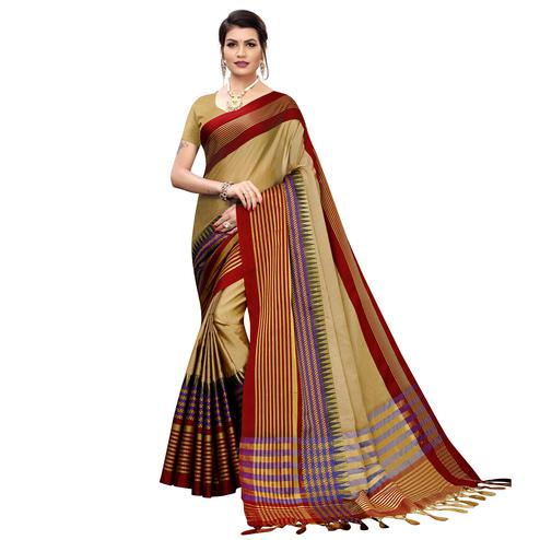 Amazing Chiku Colored Festive Wear Printed Cotton Silk Saree