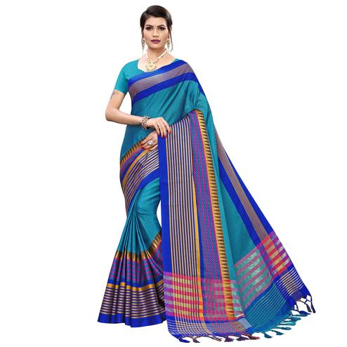 Gorgeous Firozi Blue Colored Festive Wear Printed Cotton Silk Saree