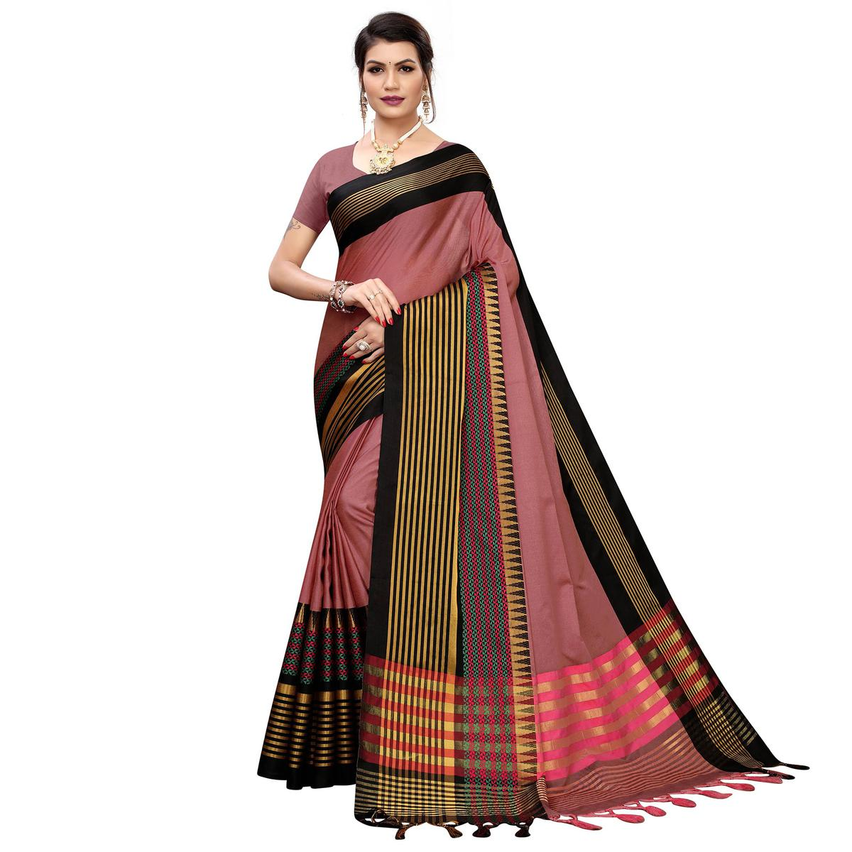 Ideal Peach Colored Festive Wear Printed Cotton Silk Saree