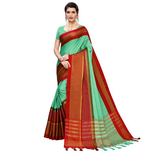 Imposing Pista Green Colored Festive Wear Printed Cotton Silk Saree