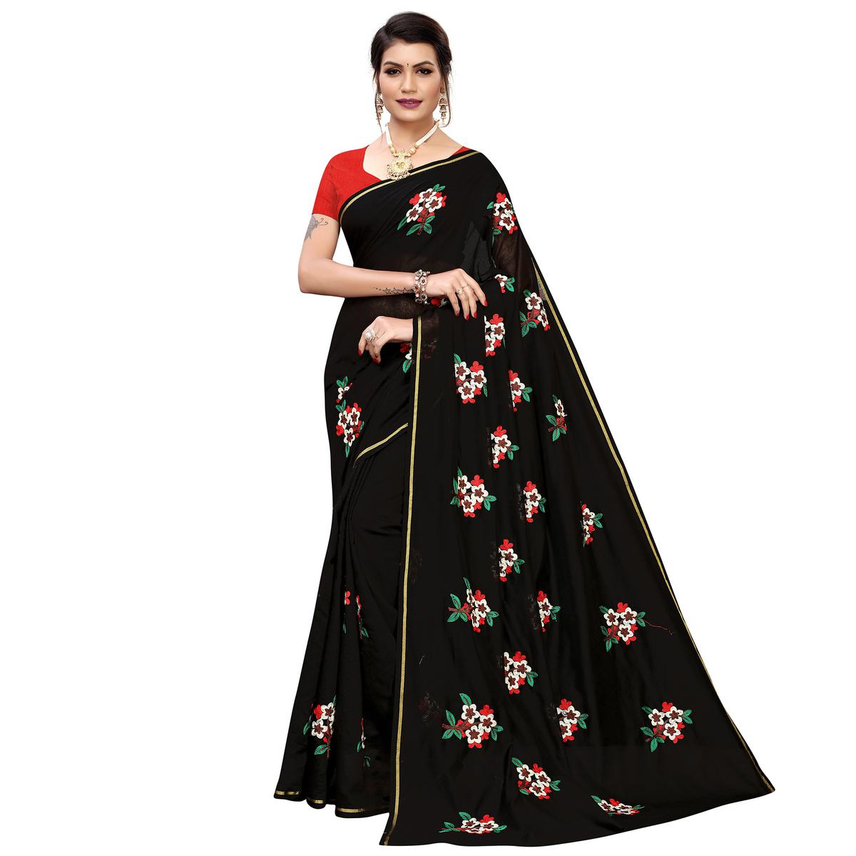 Lovely Black Colored Partywear Embroidered Chanderi Silk Saree