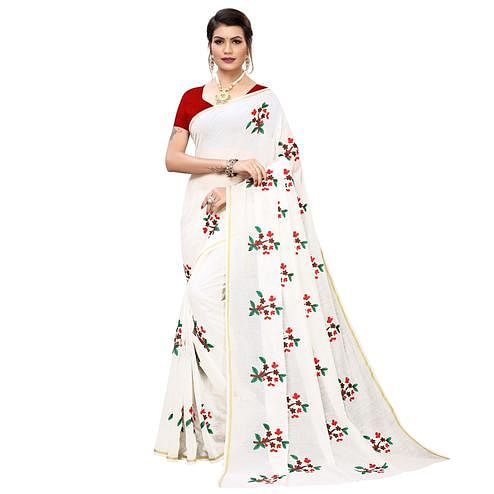 Majesty White Colored Partywear Embroidered Chanderi Silk Saree