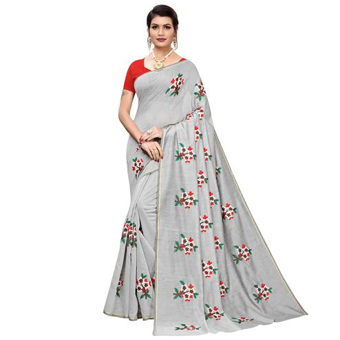 Impressive Gray Colored Partywear Embroidered Chanderi Silk Saree