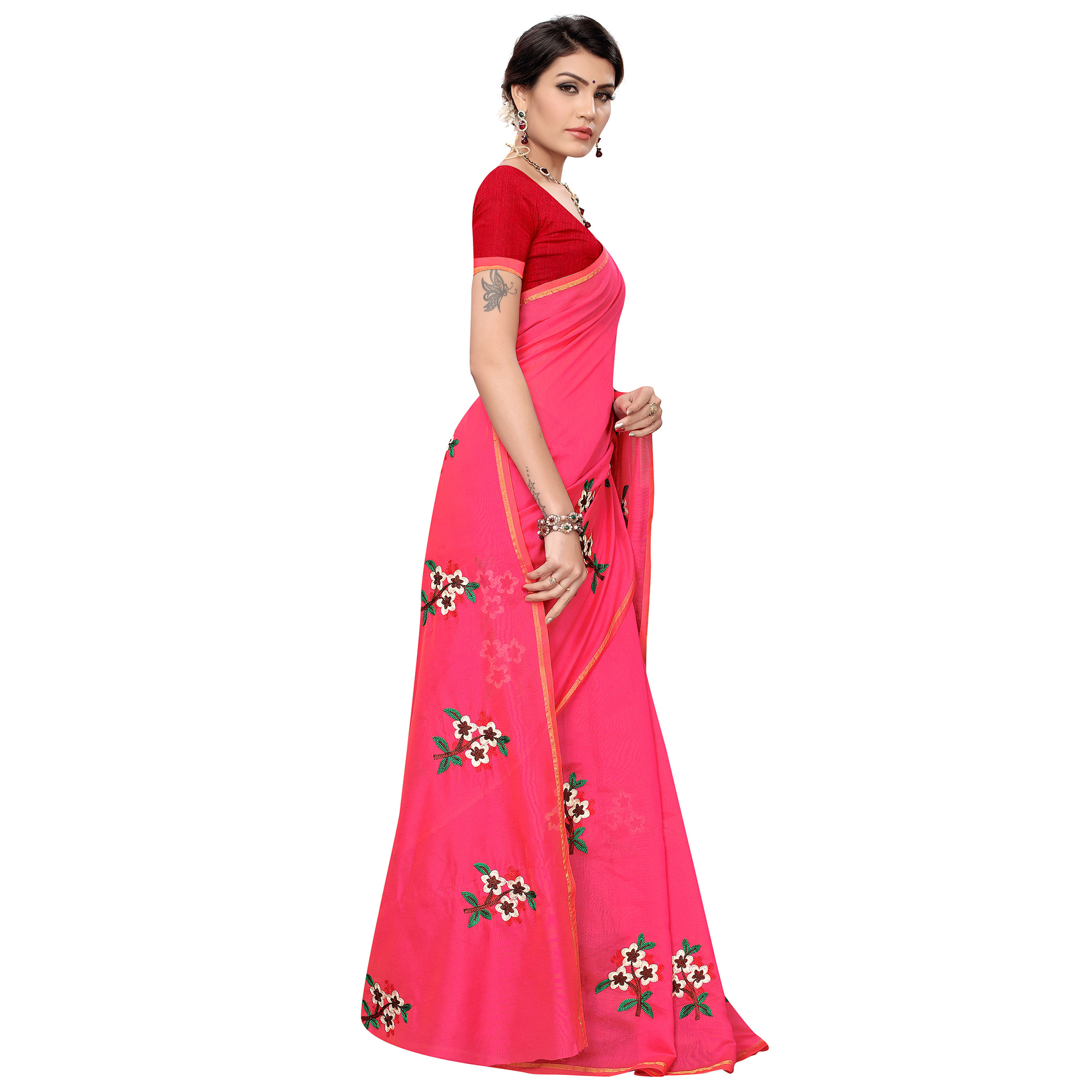 Pleasance Pink Colored Partywear Embroidered Chanderi Silk Saree