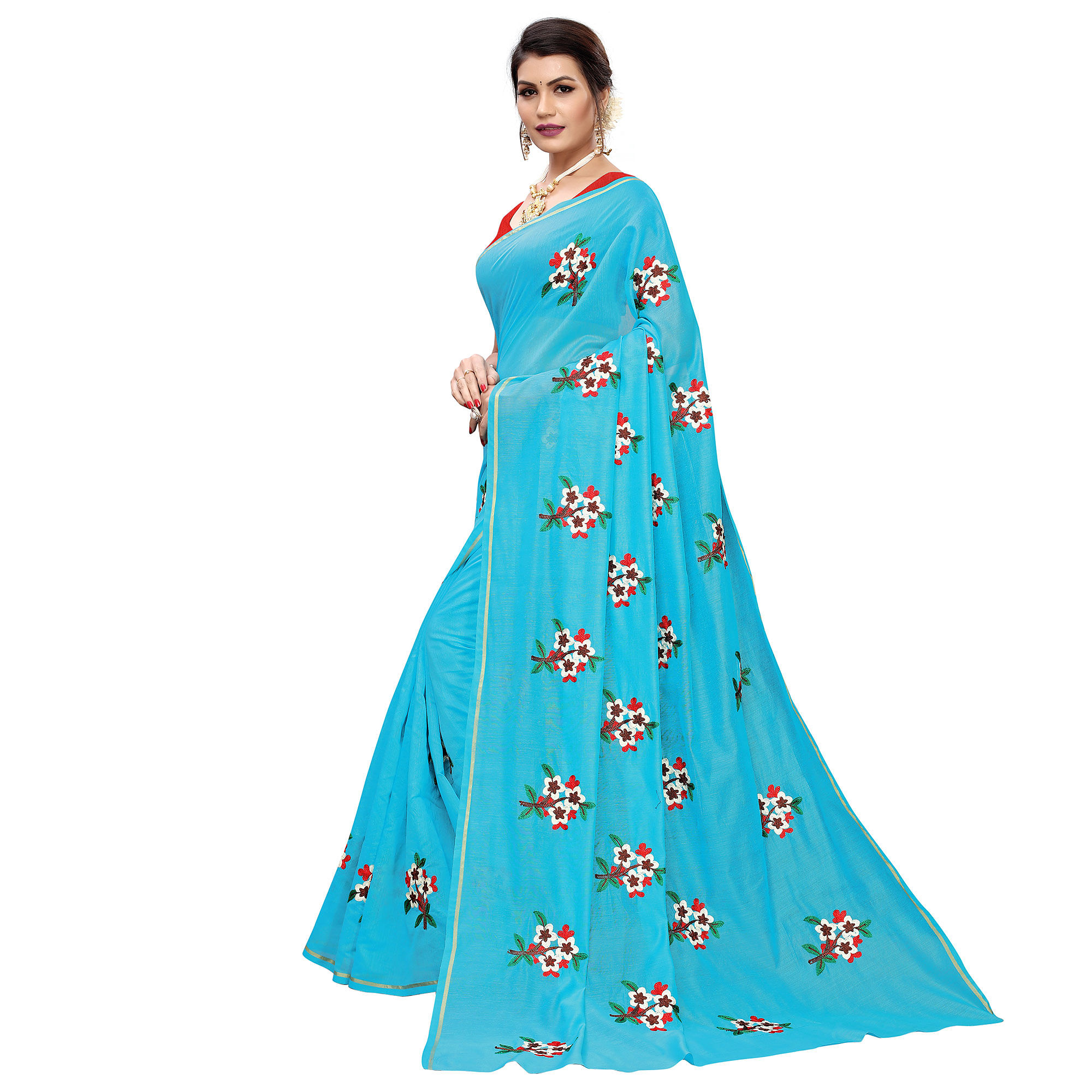 Breathtaking Sky Blue Colored Partywear Embroidered Chanderi Silk Saree